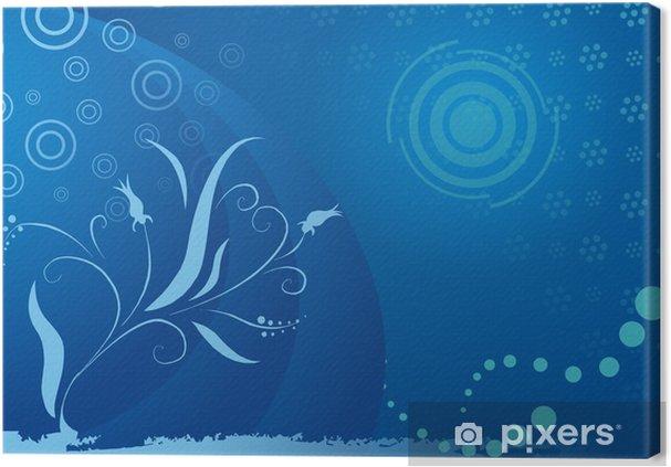 Obraz na plátně Fondo azul con flores - Pozadí
