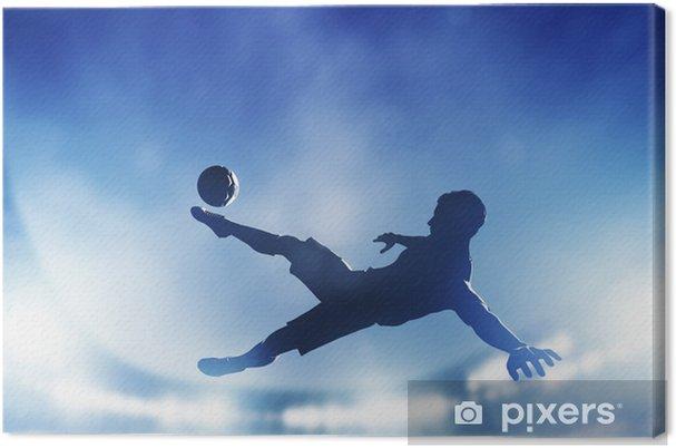 Obraz na plátně Fotbal, fotbalový zápas. Hráč střílí na branku - Témata