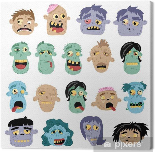 Obraz na plátně Funny avatar zombie nastavena v kresleném stylu - Koníčky a  volný čas 7f3b209b8e4