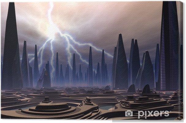 Obraz na plátně Futuristický Alien City - počítačové kresby - Meziplanetární prostor