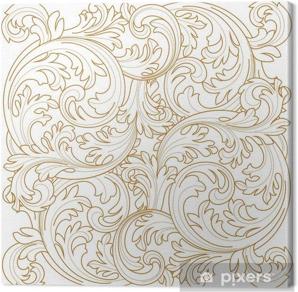 Obraz na plátně Golden archivních snímků scroll ornament rytina hranice květinový retro vzorek v antickém stylu acanthus zeleň vírová ozdobného výprava živel filigránským kaligrafie vektor | damašek - Vybrat - Grafika