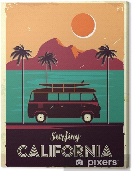 Obraz na plátně Grunge retro kovové znamení s palmami a van. surfování v kalifornii. vintage reklamní plakát. staromódní design - Krajiny