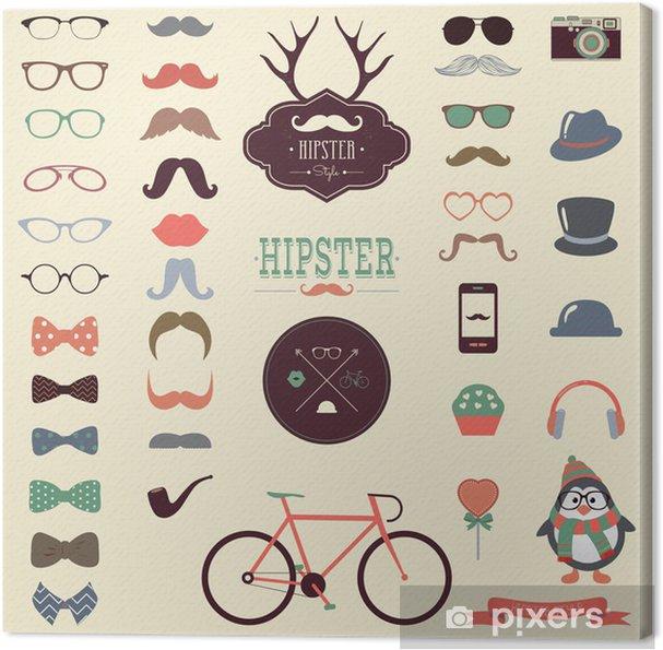 Obraz na plátně Hipster Colorful Retro Vintage Vector Icon Set - Doplňky