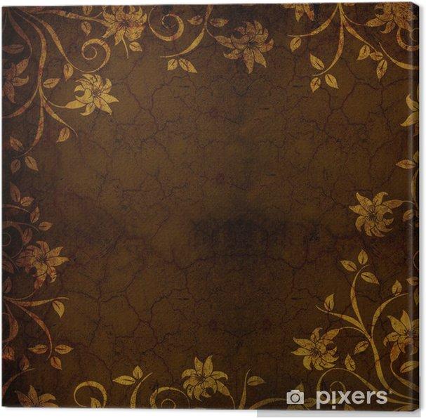 Obraz na plátně Hnědá Zlatá Květinové texturou pozadí - Pozadí