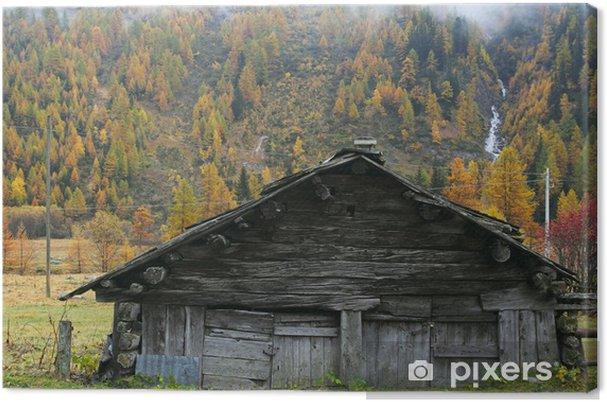 Obraz na plátně Horská chata pro skot - Roční období