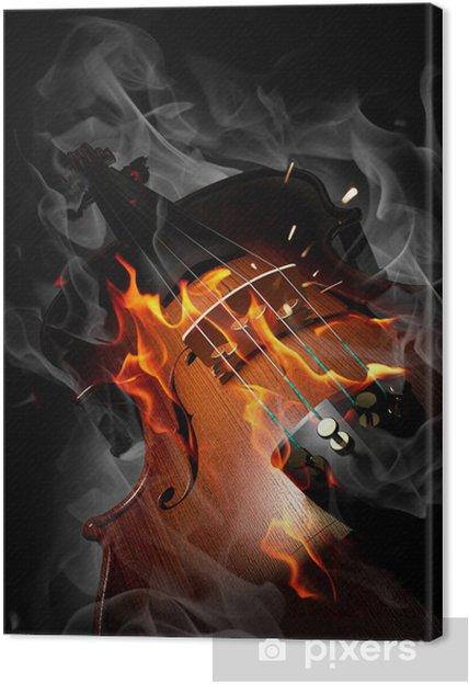 Obraz na plátně Housle v ohni - Hudba