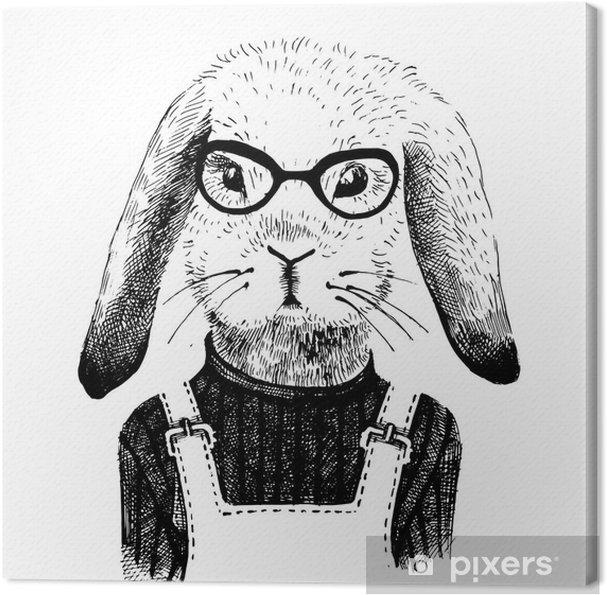 Obraz na plátně Ilustrace oblečená zajíček - Zvířata