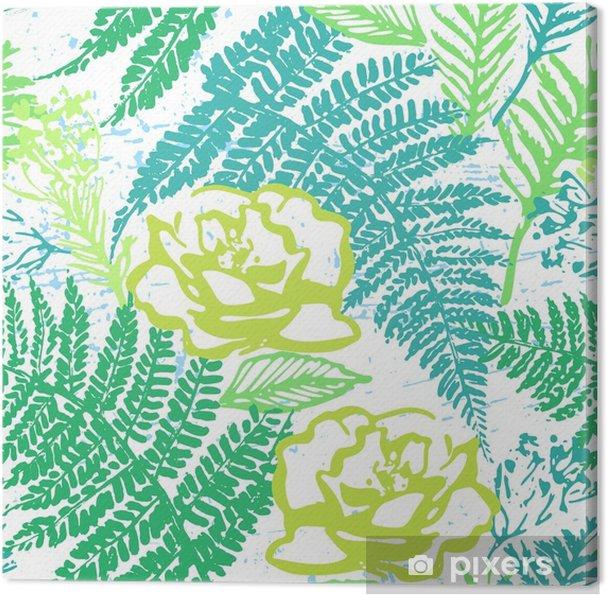 Obraz Na Platne Inkoust Rucne Kreslene Zelene Listi Bezesve Vzorek S