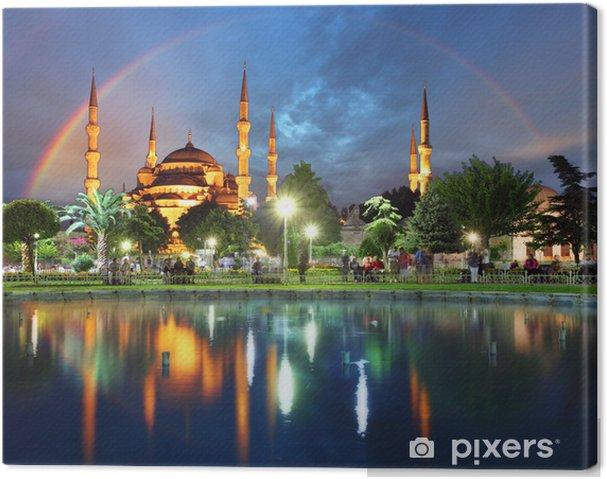 Obraz na plátně Istanbul s duhou - Modrá mešita, Turecko - Témata