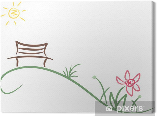 Obraz Na Platne Jednoducha Kresba Lavicce V Parku Pod Sirym Nebem