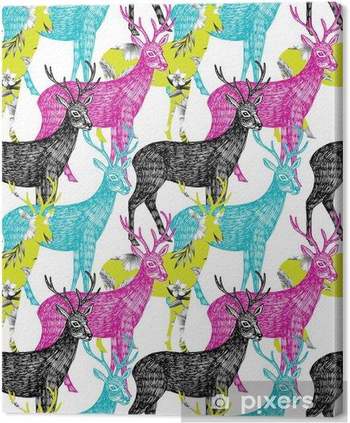 Obraz na plátně Jelen ručně malovaná bezešvé pozadí - Zvířata
