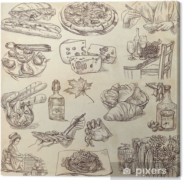 Obraz Na Platne Jidlo A Piti Po Celem Svete Kresby Na Stary Papir
