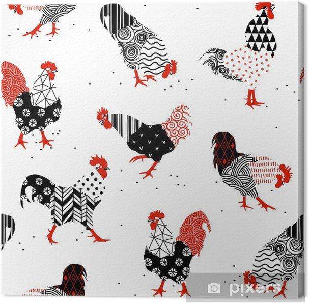 Obraz na plátně Kohouti se vzory - Zvířata