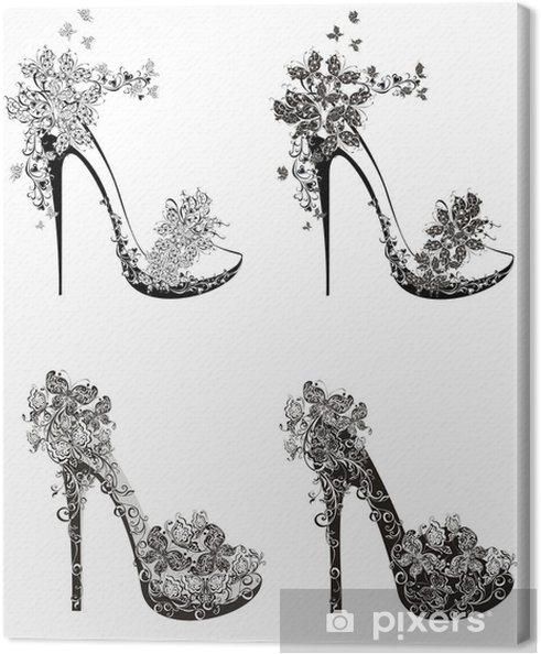 9732273ed1e Obraz na plátně Kolekce módní vysoké podpatky boty • Pixers ...