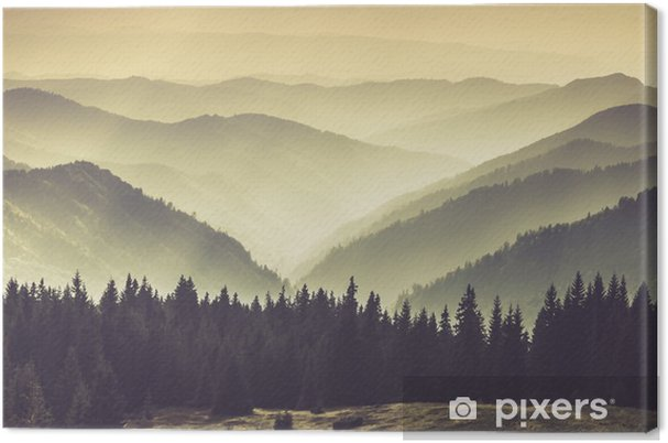 Obraz na plátně Krajina Misty Mountain kopců. - Krajiny