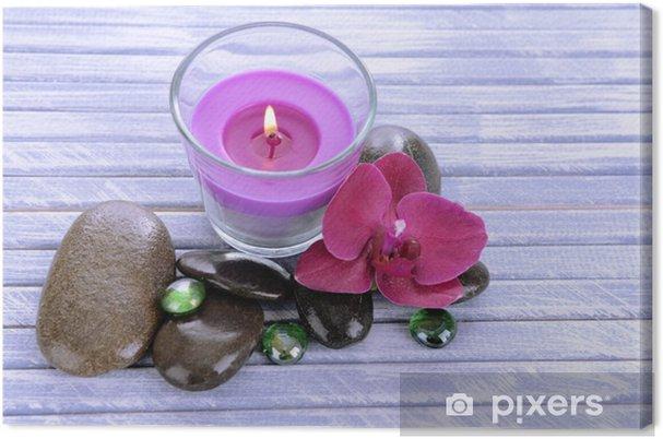 Obraz na plátně Krásné barevné svíčky a orchidej květina f56b72f3a80