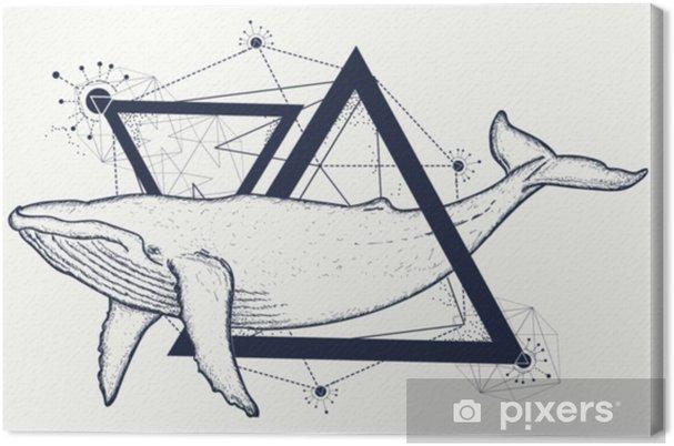 Obraz Kreativní geometrické velryba tetování umění tričko tisk výtisk  plakát textil. velrybí tetování geometrický styl. mystický symbol  dobrodružství 088fc7062d