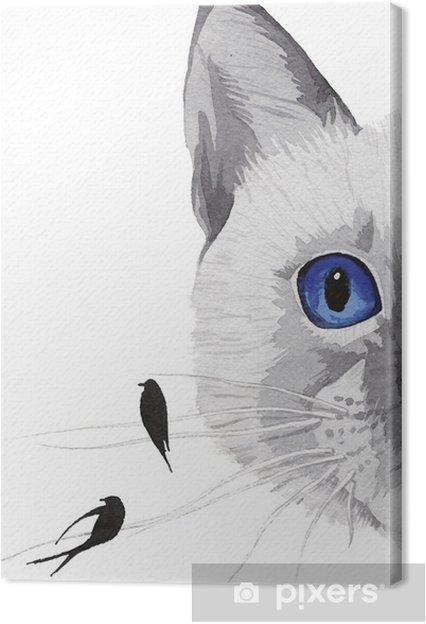 Obraz Na Platne Kresba Kocky S Modrymi Ocima A Ptaky Pixers