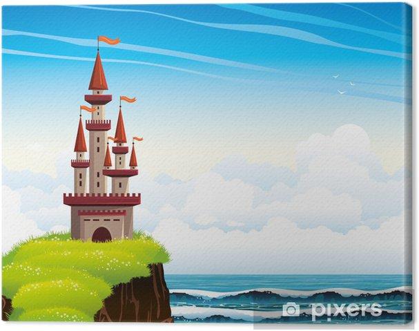 Obraz Na Platne Kreslene Hrad Stojici Na Utesu Na Lue More A Nebe
