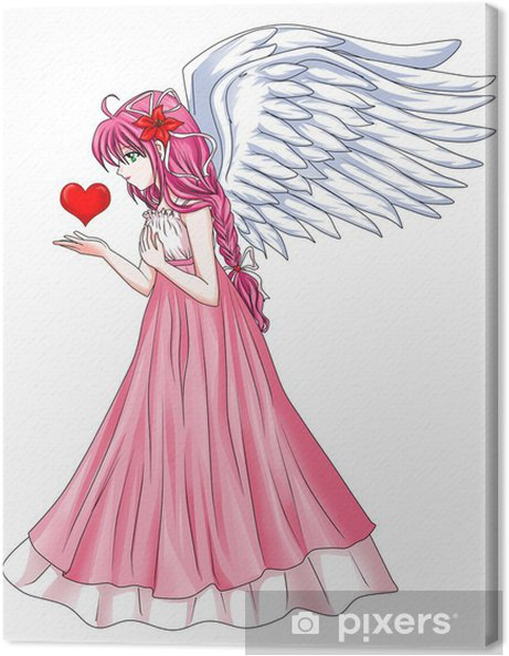 Obraz Na Platne Kreslene Ilustrace Krasny Andel Drzi Symbol Srdce