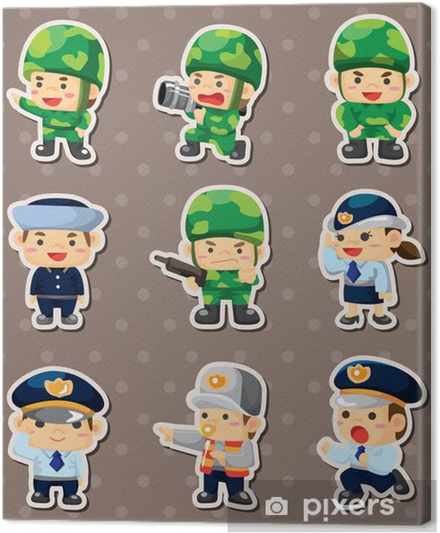 Obraz Na Platne Kreslenych Policie A Vojak Samolepky Pixers