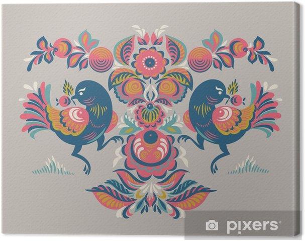 Obraz na plátně Květinovým vzorem se dvěma ptáky v Gorodets stylu - Rostliny a květiny