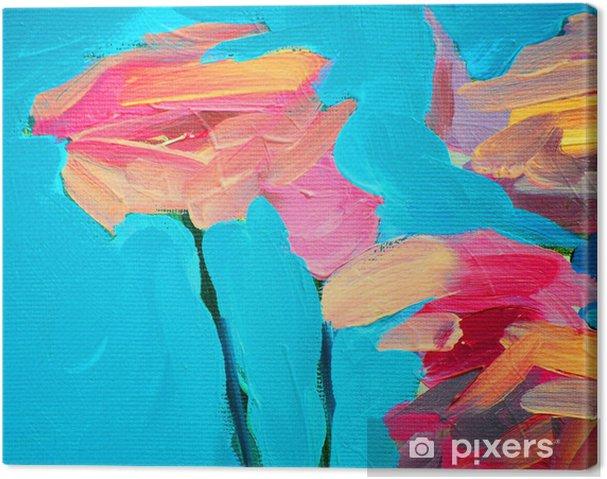 Obraz na plátně Květy růže a modrou oblohu, malba olejem na plátně, zázemí, - Styly
