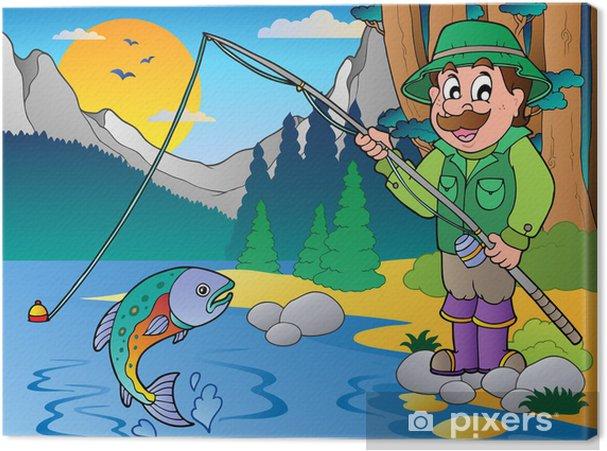 Obraz na plátně Lake s kreslený rybář 1 - Outdoorové sporty
