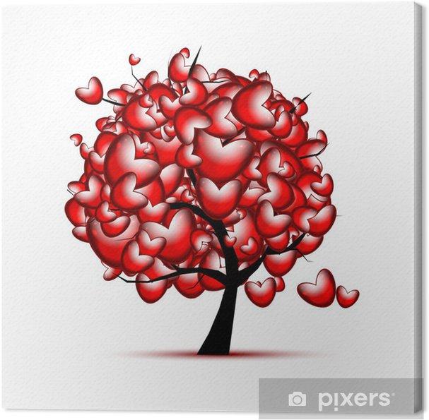 Obraz na plátně Láska strom designu s červeným srdcem pro Valentýna - Mezinárodní svátky