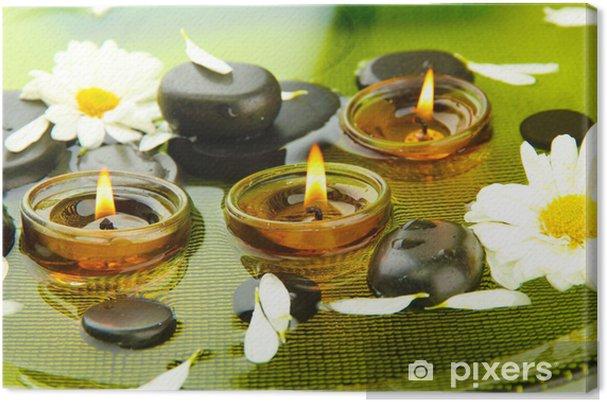 Obraz na plátně Lázně kameny s květinami a svíčkami ve vodě na talíři - Květiny