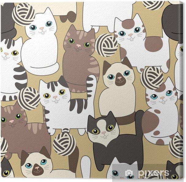 Obraz na plátně Legrační karikatury kočky. Bezešvé vzor - Pozadí