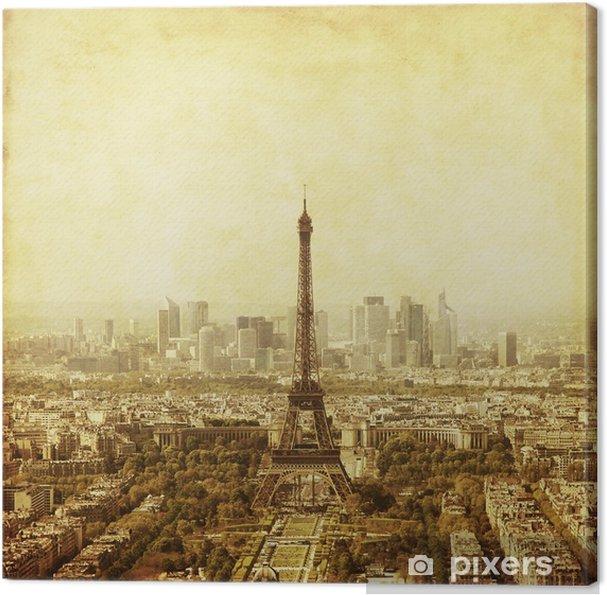 Obraz na plátně Letecký pohled na Paříž, Francie. fotografie starý styl. - Evropská města