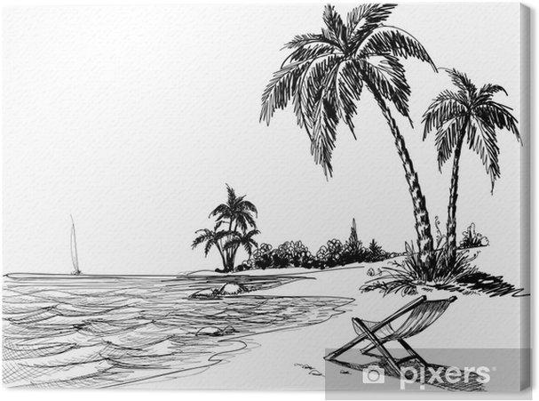 Obraz Na Platne Letni Plaz Kresba Tuzkou Pixers Zijeme Pro Zmenu