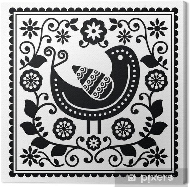 Obraz na plátně Lidového umění černé vzor s ptákem a květiny - Grafika