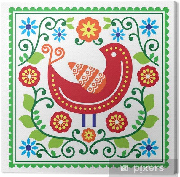Obraz na plátně Lidového umění vektoru vzor s ptákem a květiny - Pozadí