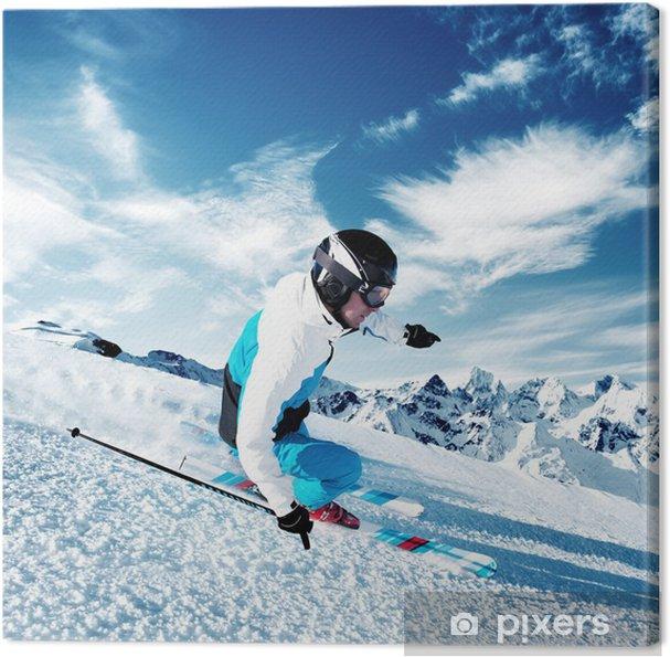 Obraz na plátně Lyžař v horách, upravené sjezdovce - Lyžování