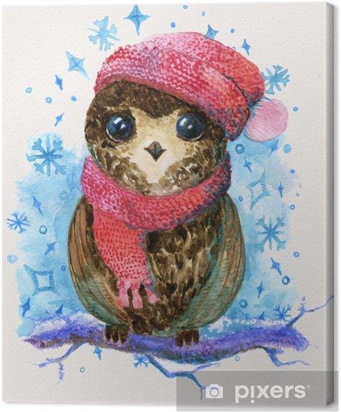Obraz Na Platne Mala Sova Kresba Akvarel Ilustrace Pixers