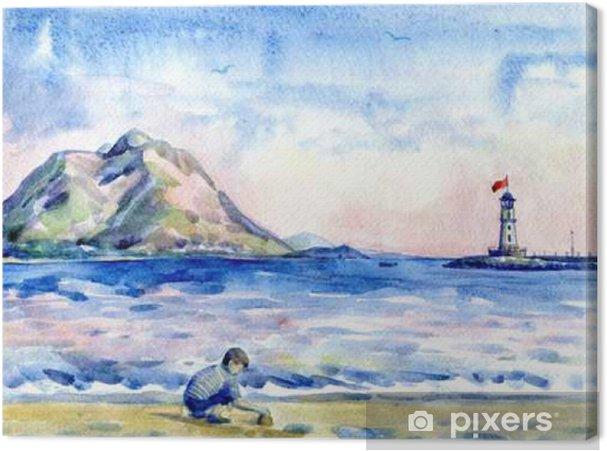 Obraz na plátně Malý chlapec na pláži. Okořeněnou maják. akvarelu - Lidé