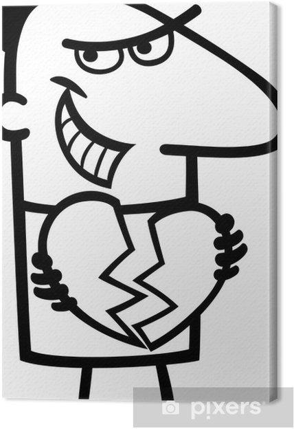 Obraz Na Platne Muz Lamani Srdce Kreslene Ilustrace Pixers