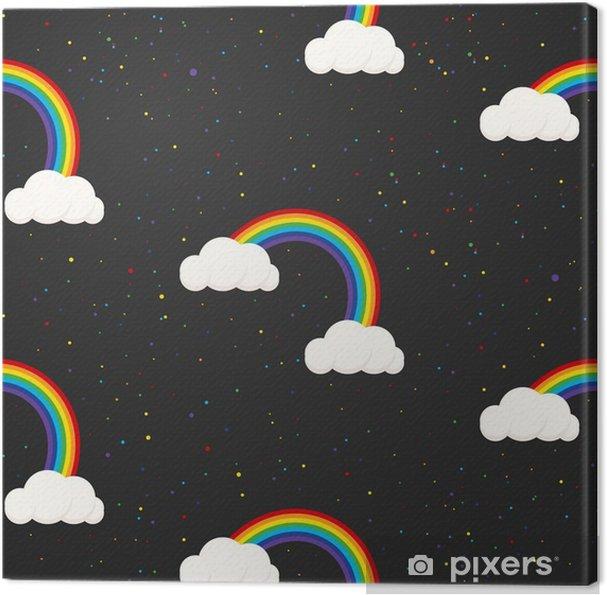 Obraz na plátně Noční obloha fantazie kluk bezešvé vzor. Hvězda konfety, mraky a duha chlapec šedá tapeta a design tkaniny. - Do dětského pokoje