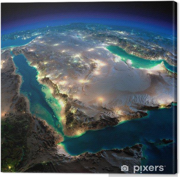 Obraz na plátně Noční Země. Saúdská Arábie - Země