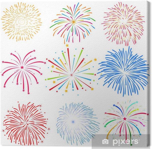 Obraz na plátně Ohňostroje vektor na bílém pozadí - Mezinárodní svátky