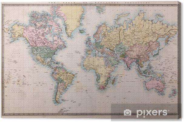 Obraz na plátně Old Antique Mapa světa na promítání Mercators -