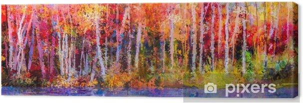 Obraz na plátně Olejomalba barevné podzimní stromy. semi - abstraktní obraz  lesa b58ebe2743