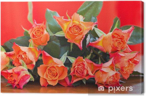 Obraz na plátně Oranžové růže - Květiny