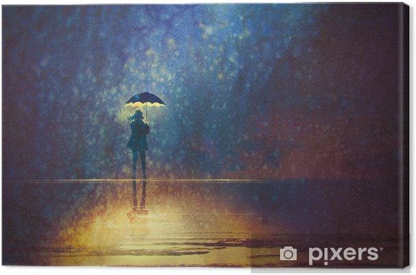 Obraz na plátně Osamělá žena pod deštníkem světla ve tmě, digitální obraz - Koníčky a volný čas