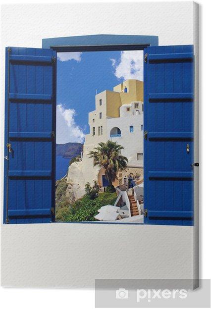 Obraz na plátně Otevřít tradiční řecké modré okno na ostrově Santorini, Řecko - Evropa