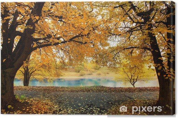 Obraz Na Platne Podzimu Park S Zlutymi Listy Babi Leto Pixers