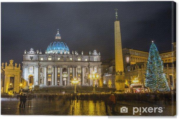 Obraz na plátně Pohled Bazilika Basilica di San Pietro, v noci, Vatikán v Římě, Ital - Témata