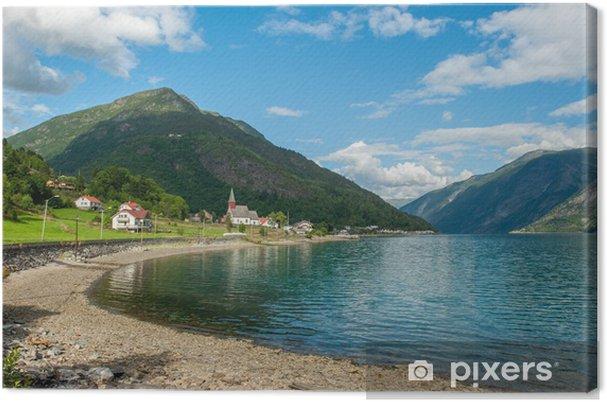 Obraz na plátně Pohled na Lustrafjorden, Norsko - Evropa